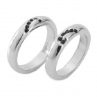 WH-07 Platinum Plated Alloy + Shiny Crystal Couple Rings - Silver (2 PCS)