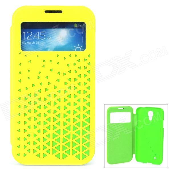 Joyroom Protective Flip Open PU + PC Case w/ Display Window for Samsung S4 i9500 - Yellow + Green protective flip open pu leather case w display window for samsung s4 i9500 white black