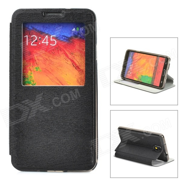 Protective PU Leather Case w/ Visual Window for Samsung Galaxy Note 3 N9000 - Black temei protective pu leather tpu case stand w visual window for samsung galaxy note 3 white