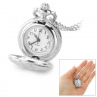 Fashionable Flower Engraving Analog Quartz Pocket Watch - Silver (1 x 377)