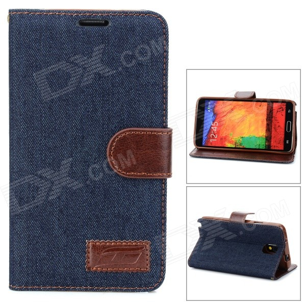 Denim Fabric Style Protective PU Leather Case for Samsung Galaxy Note 3 - Dark Blue + Brown cool snake skin style protective pu leather case for samsung galaxy s3 i9300 brown