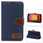Denim Fabric Style Protective PU Leather Case for Samsung Galaxy Note 3 - Dark Blue + Brown