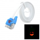 04 Smile Face Pattern Flat USB 2.0 Male to Micro USB Male Cable for Samsung Note3 - White + Blue