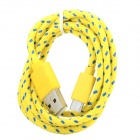 USB to Micro USB Data / Charging Woven Cable for Samsung / HTC / LG + More - Yellow + Blue