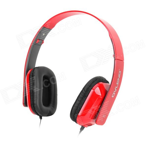OVLENG X2 Stylish Folding Headphones w/ Microphone for Cell Phone / PC - Red + Black платье cardo цвет синий розовый