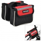 TOP CYCLING Outdoor Cycling Bike Top Tube Double-Storage Bag - Black + Red