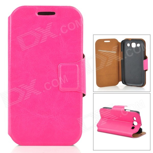Protective Leather Case w/ Stand / Card Slot for Samsung i9300 - Deep Pink - DXLeather Cases<br>Brand N/A Quantity 1 Piece Color Deep pink Material Leather Compatible Models Samsung i9300 / S3 Other Features Protects your device from scratches shock and dust; Allows access to all interfaces w/o removing the case; Can be folded as a stand providing great angle for viewing playing and typing; Convenient to use Packing List 1 x Case<br>