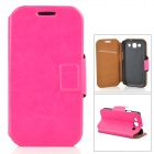 Protective Leather Case w/ Stand / Card Slot for Samsung i9300 - Deep Pink