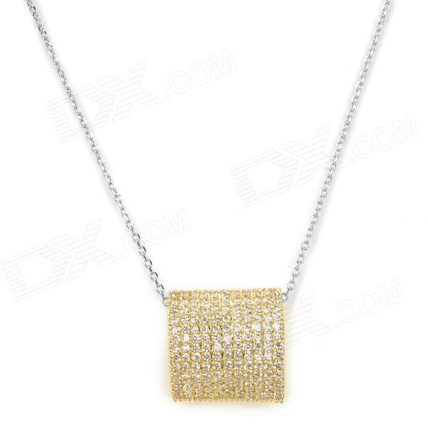 Woman's Shiny Crystal-inlaid Pendant Necklace - Golden + Silver fashionable golden necklace with crystal pendant 42cm length
