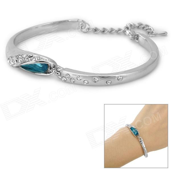 SZSZ-1 Woman's Fashionable Shiny Crystal-inlaid Zinc Alloy Bracelet - Silver + Blue fashionable dice style shiny crystal decorated zinc alloy ashtray silver