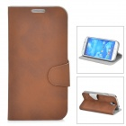 Protective Matte PU Leather Flip-open Case for Samsung Galaxy S4 i9500 - Brown
