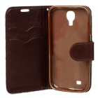 Protective Flip Open PU Leather Case w/ Stand / Card Slots for Samsung S4 i9500 - Blue + Brown