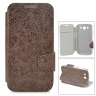 Stylish Flip-Open PU Leather Case w/ Stand / Card Slot for Samsung i9300 - Brown