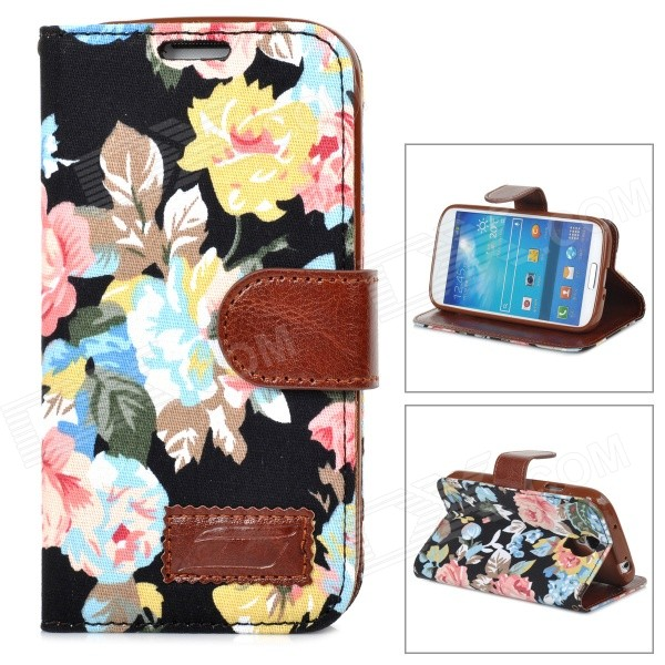 Flower Pattern Protective Flip-open PU Leather Case for Samsung Galaxy S4 i9500 protective cute spots pattern back case for samsung galaxy s4 i9500 multicolored