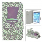 Leopard Pattern Flip-Open PU Leather Case for Samsung i9500 / S4 - Black + Green