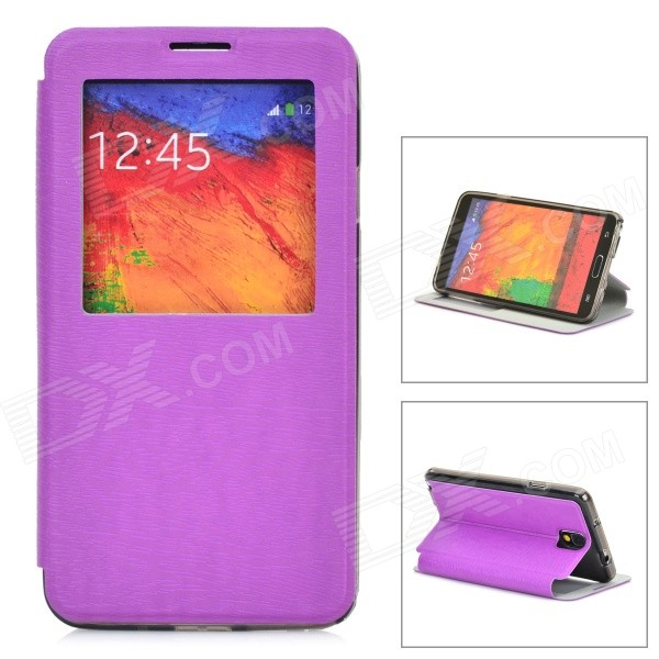 Bark Grain Protective Case w/ Auto-Sleep / Display Window for Samsung Galaxy Note 3 N9000 - Purple