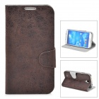Protective PU Leather Case w/ Card Holder Slot for Samsung Galaxy S4 i9500 - Dark Brown