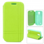 Protective Flip-open PU Leather Case w/ Holder for Samsung Galaxy S4 Mini i9190 - Green
