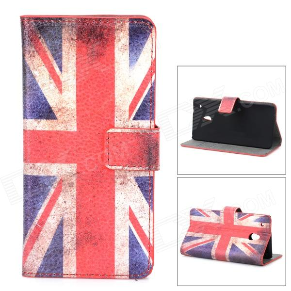 все цены на UK Flag Pattern Protective PU Case w/ Stand / Card Slots for HTC One Mini M4 - Blue + Red + Beige онлайн