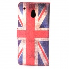 UK Flag Pattern Protective PU Case w/ Stand / Card Slots for HTC One Mini M4 - Blue + Red + Beige
