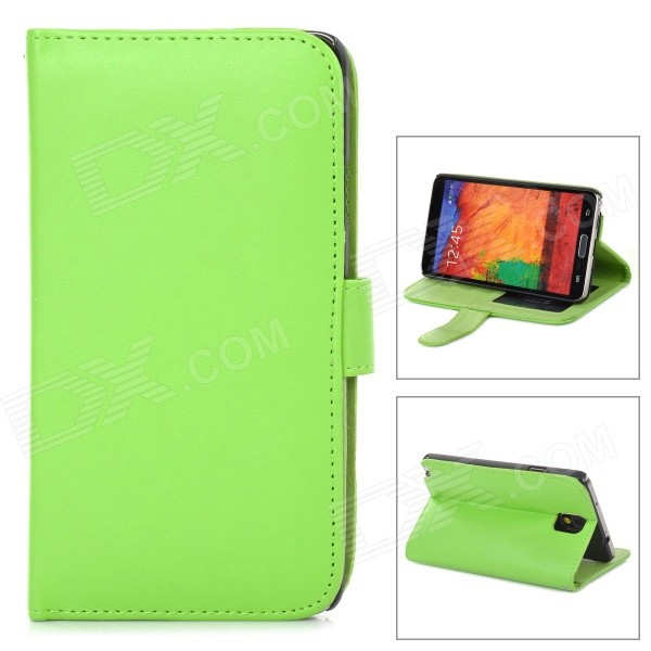 Protective PU Leather Case w/ Card Holder Slots for Samsung Galaxy Note 3 - Green oracle style protective pu leather case w card holder slots for samsung galaxy note 3 white