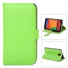 Protective PU Leather Case w/ Card Holder Slots for Samsung Galaxy Note 3 - Green