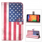 USA Flag Pattern Flip Open Case w/ Stand / Card Slots for Samsung Galaxy Note 3 N9000 - Red + White