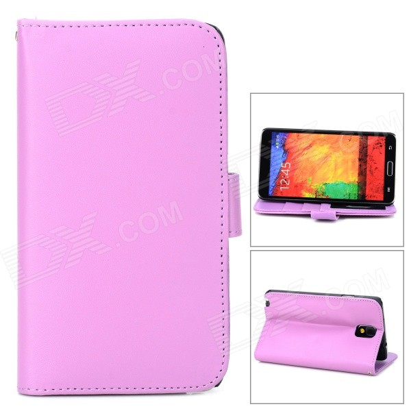 Protective Flip Open PU Leather Case w/ Stand / Card Slots for Samsung Note 3 - Purple protective pu leather flip open case w stand for samsung note 3 n9000 deep pink light green