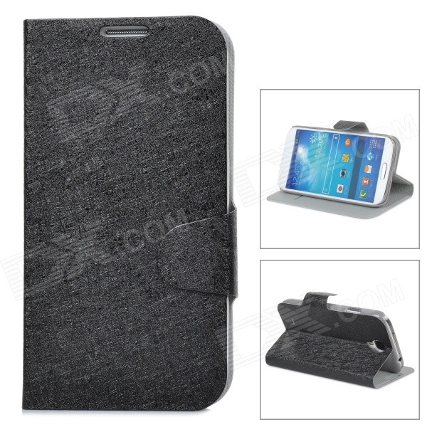 Ice Crystal Grain Style Protective PU Leather Case for Samsung Galaxy S4 i9500 - Black cm001 3d skeleton pattern protective plastic back case for samsung galaxy s4
