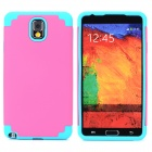 2-in-1 Protective Silicone Back Case for Samsung Galaxy Note 3 - Pink + Blue