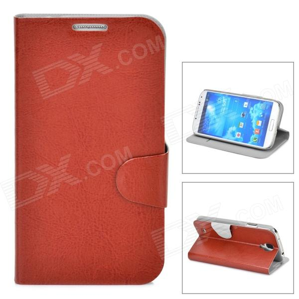 Protective PU Leather Case w/ Card Holder Slot for Samsung Galaxy S4 i9500 - Brown