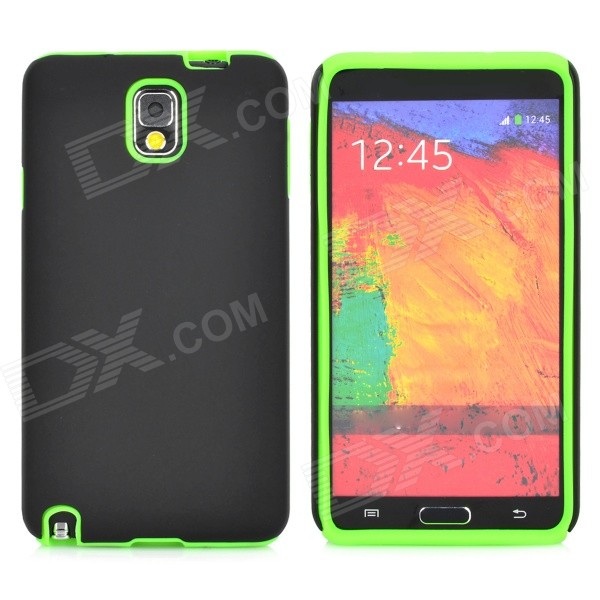 Protective Silicone + Matte PC Case for Samsung Galaxy Note 3 - Black + Green cute 3d girl style protective silicone back case for samsung galaxy note 3 n9000 green