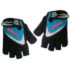 LYCCO C100 Outdoor Sports Cycling Half Fingers Gloves - Black + Blue (Pair / Size L)