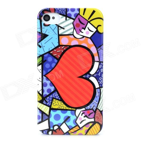 Graffiti Style Love Pattern Protective PC Back Case for Iphone 4 / 4S - Red + Blue water drops style protective plastic back case for iphone 4 blue