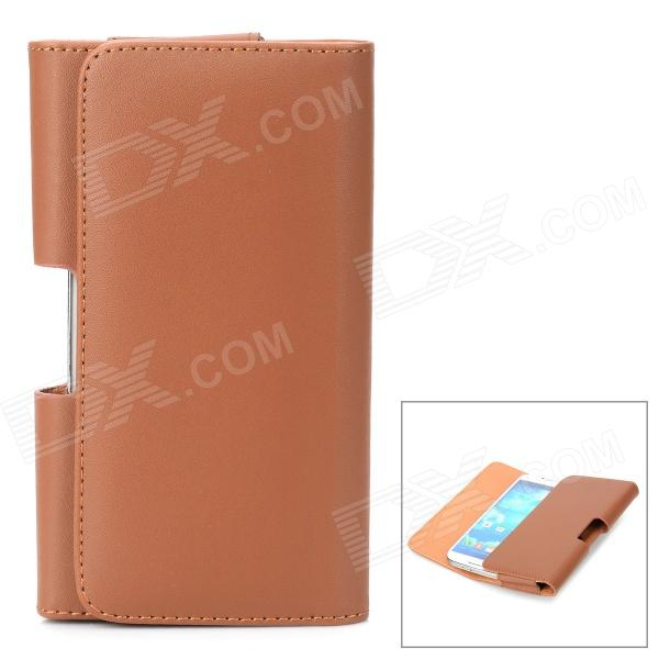 Protective Flip Open PU Leather Waist Case for Samsung Galaxy S4 i9500 - Brown protective flip open pu leather case for samsung galaxy s4 i9500 white