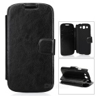 Protective PU Leather Case w/ Card Holder Slot for Samsung Galaxy S3 i9300 - Black