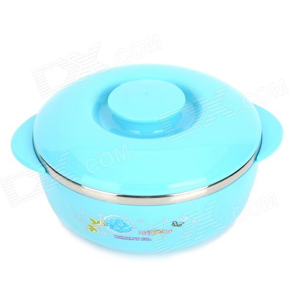 LX8860 Kid's Healthy Stainless Steel Inner Container Thermal Plastic Bowel - Blue + Silver