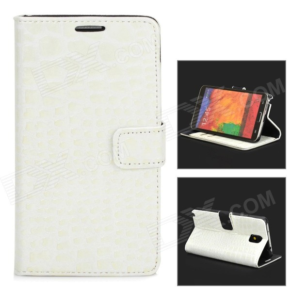Alligator Pattern Protective Flip-Open PU Leather Case for Samsung Galaxy Note 3 N9000 - White crocodile skin pattern pu leather flip open case for samsung galaxy note 3 n9000 brown