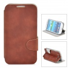 Stylish Protective PU Leather Case w/ Card Holder Slot for Samsung i9300 - Brown
