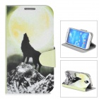 Howl Wolf Pattern Protective Flip-open PU Leather Case for Samsung Galaxy S4 i9500