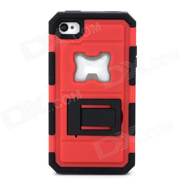 2-in-1 Protective Silicone + PC Back Case w/ Stand / Corkscrew for Iphone 4 / 4S - Black + Red smkj protective plastic silicone back case w stand for iphone 6 4 7 black