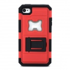 2-in-1 Protective Silicone + PC Back Case w/ Stand / Corkscrew for Iphone 4 / 4S - Black + Red