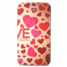 Heart-shaped Pattern Protective Flip Open Case w/ Stand for Iphone 4 / 4S - Red + Beige