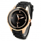 Tianyi ZH3117 Stylish Silicone Band Analog Quartz Wrist Watch - Black + Golden (1 x SR6265W)