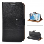 Protective PU Leather Case w/ Card Holder Slots for Samsung N7100 - Black