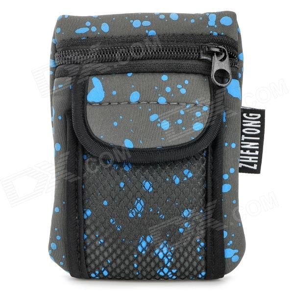 012 Convenient Elastic Cloth Waist Bag - Blue + Grey