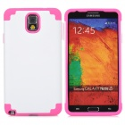 Protective Plastic + Silicone Back Case for Samsung Galaxy Note 3 - White + Deep Pink