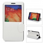 Protective PU Leather Case w/ Auto-Sleep / Display Window for Samsung Galaxy Note 3 - White