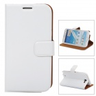 Protective PU Leather Case w/ Card Holder Slots for Samsung N7100 - White