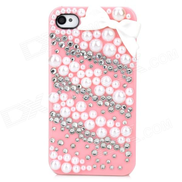 Protective Resin + Crystal Back Case for Iphone 4 / 4S - Pink + White cartoon pattern matte protective abs back case for iphone 4 4s deep pink